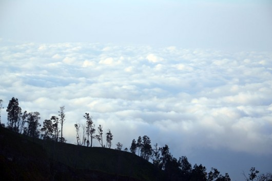 Blanket of clouds on our way to Ijen crater