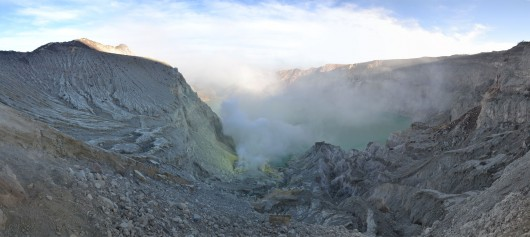 View of the active Ijen crater