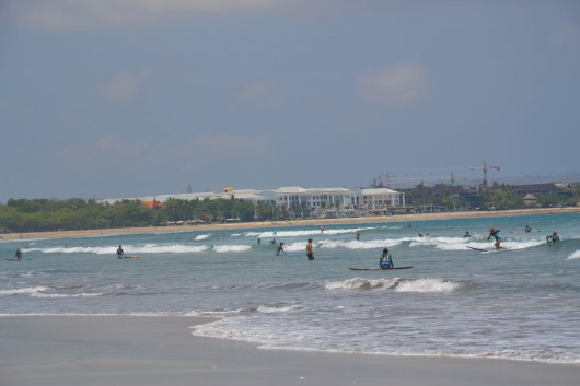 Perfect spot for beginner surfers on Kuta beach