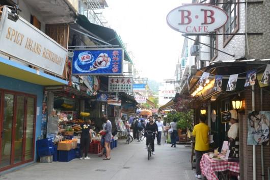 Little shops and restaurants near the pier