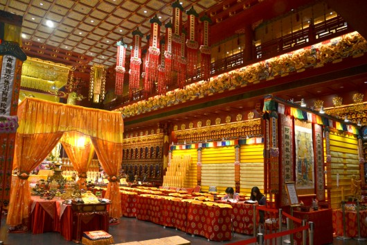 Inside the study hall of the Buddha tooth relic temple and museum