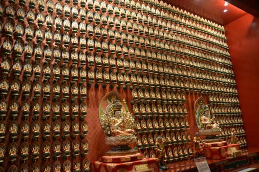1000's of Buddha statues on the wall inside the tooth relic temple and museum
