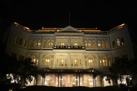 Raffles hotel at night