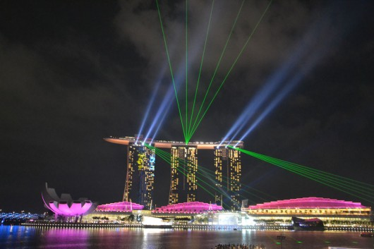 Stunning laser show at Marina Bay from the Sands hotel