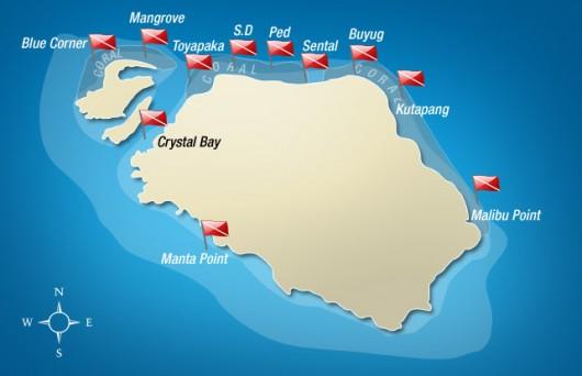 Nusa Penida Dive map