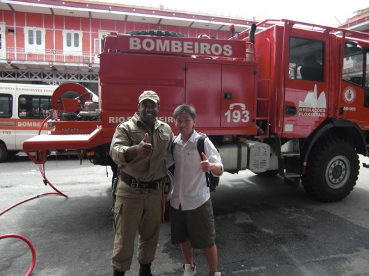Hanging out with local fireman in Rio de Janeiro Brazil