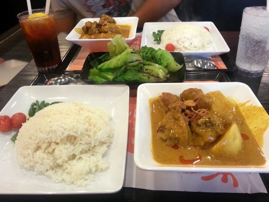 Chicken curry with Chinese vegetables