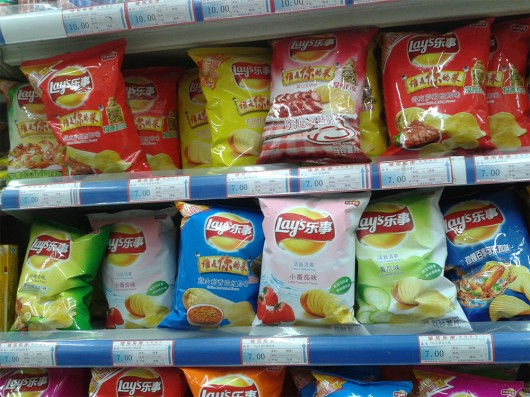 Many different flavor of chips