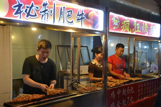 Street food stalls in Guilin