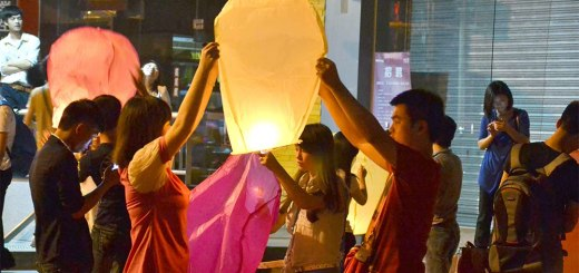 Sky lanterns during Mid Autumn Festival
