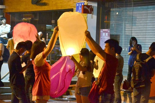Sky lanterns during Mid Autumn Festival