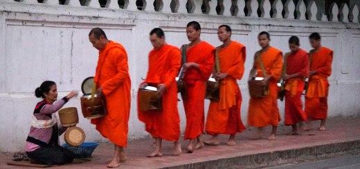 A serene alms procession
