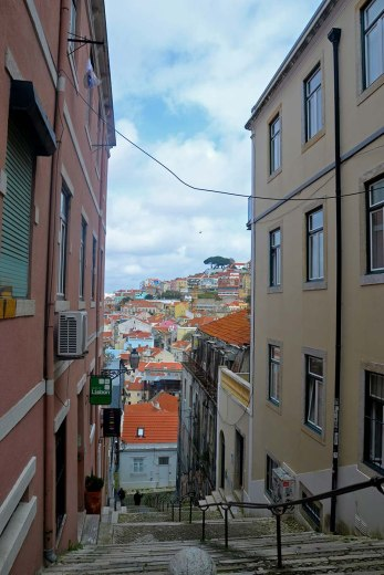 Asian backpacker - Lisbon Alfama