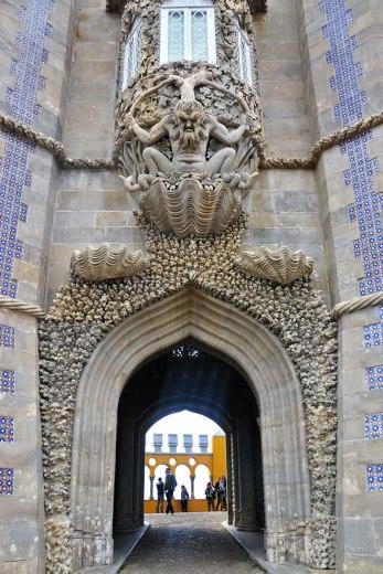 Asian backpacker - Sintra Pena palace gate