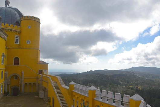 Asian backpacker - Sintra view from Pena palace