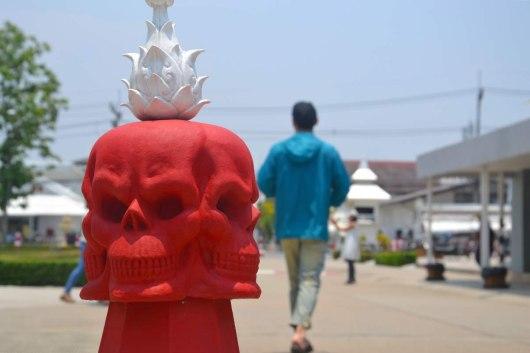 Asian backpacker - Chiang Rai traffic cone