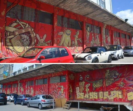 Asian backpacker - Lisbon LX Factory streetart